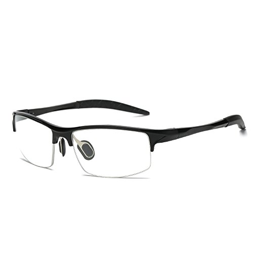 Flat Lens Eyewear Optical Glasses for Men Women Ultra Light Al-Mg Frame Semi Rimless Eyeglasses by Galulas - Shape Eyeglasses For Face Best Round