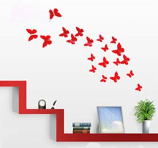 Butterfly Wall Art: 12pcs/pack Red PVC 3d Decorative Butterflies, Removable  Wall Art