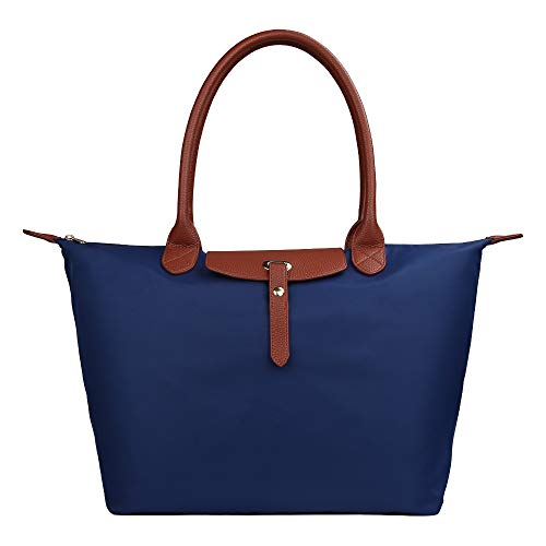 GISTE Women Fashion Nylon Travel with Waterproof Beach Shoulder Tote Bag (Blue)
