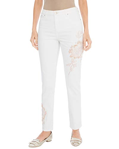 Chico's Women's So Slimming Floral Applique Girlfriend Ankle Jeans Size 8 M (1 REG) White