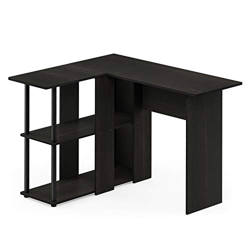 Furinno 17092EX/BK Abbott L-Shape Desk with Bookshelf, Espresso/Black