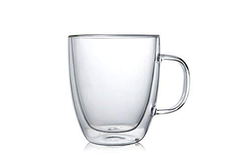 Large Premium Heat Resisting Glass Cup or Mug (Single Cup - 1 Cup) - 500 ML or 16.9 OZ (Ounces) - Double Walled Insulated Glass - Dishwasher & Microwave Safe - Clear, Unique & Insulated with Handle