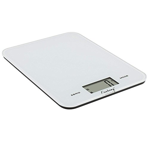 Finnhomy Digital Kitchen Scale for Food Water or Milk Multifunction Cooking Baking Scale Big Clear LCD Display Tempered Glass Wide Platform 8kg 17.6lb Extra Large Capacity Tare Function Easy to Clean ()