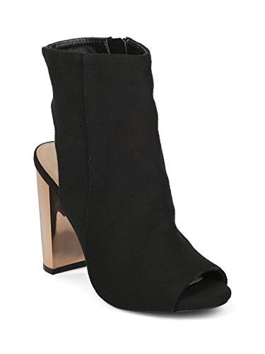 Alrisco Women Faux Suede Peep Toe Open Back Metallic Block Heel Bootie HF06 - Black Faux Suede (Size: 7.0)