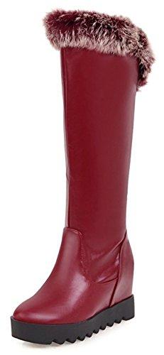 Aisun Mujeres Comfort Round Toe Thick Sole Elevator Cuña Oculta De Tacón Alto Tire En La Plataforma Debajo De La Rodilla Botas Altas Wine Red