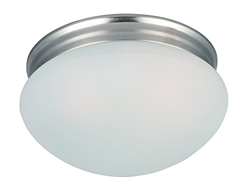 Maxim 5885FTSN Essentials 2-Light Flush Mount, Satin Nickel Finish, Frosted Glass, MB Incandescent Incandescent Bulb , 40W Max., Dry Safety Rating, Standard Dimmable, Glass Shade Material, Rated Lumens