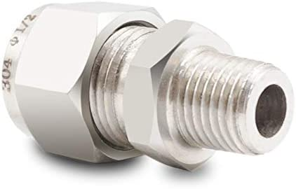 Horiznext Bulkhead Fitting 1//2 Tube OD x 1//4 NPT Male Coupler in Stainless Steel tubing