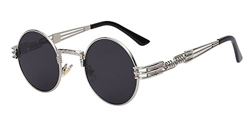The Bad and Boujee's Sunglasses Steampunk Trendy Hip Hop Shades (Silver Frame + Grey - Glasses Raving