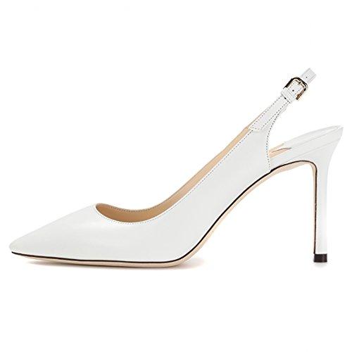 color 39 talón Blanco talla con descubierto EKS mujer zapatos EqwRX8xxT