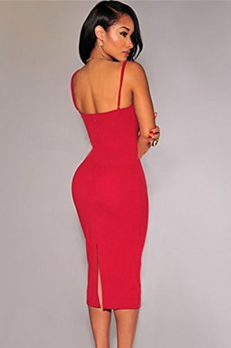 Damen Rot Ausschnitt Figurbetont Midi Kleid Club Wear Party Cruise ...
