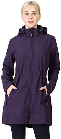 OUTDOOR VENTURES WOMEN'S SOFTSHELL JACKET WITH REMOVABLE HOOD FLEECE LINED WINDBREAKER INSULATED LONG WARM UP JACKET