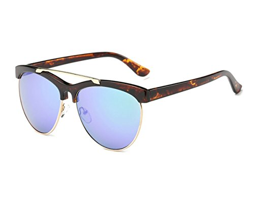 Konalla Womens Half Frame UV-400 Flash Mirror Fashion Sunglasses - Through Tan Sunglasses