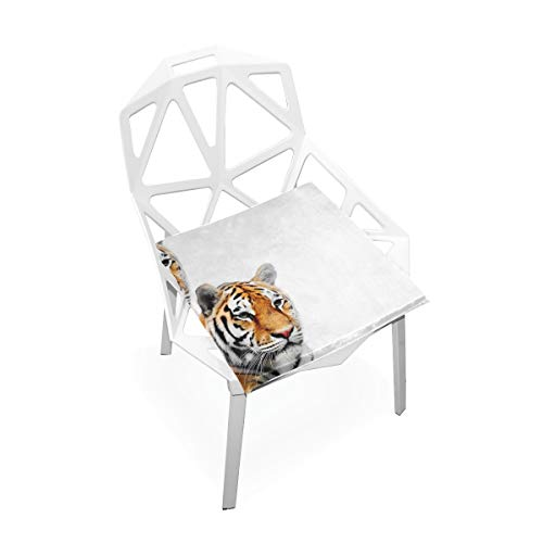 (DoubleCW Two Tigers Big Cats Tiger Velvet Dining Chair Seat Covers, Stretch Fitted Dining Room Upholstered Chair Seat Cushion Cover, Removable Washable Furniture Protector)
