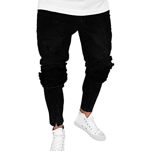 (iHPH7 Jeans Casual Distressed Ripped Skinny Stretchy Pants Fashion Denim Straight Hole Trouser Distressed Jeans Long Pant Men's (L,Black))