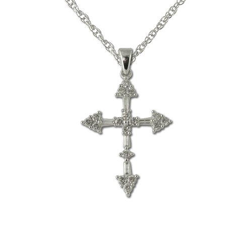 Diamond Cross Pendant 0.50 ct tw in 14K White Gold With 14K White Gold Chain (1/2 Ct Tw Diamond Cross)