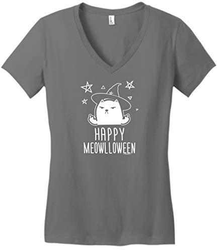 Halloween Lover Funny Cat Halloween Top Halloween Outfit Happy Meowlloween Cat Witch Juniors Vneck 3XL -