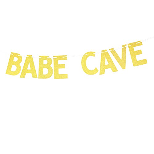 Glitter Gold Babe Cave Banner, Funny Dorm Room or Apartment Sign Decorations Bunting Garland Photo Booth - Chic Dorm