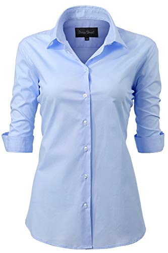 - Harrms Shirts for Women Slim Fit Stretchy Cotton Light Blue Button Down Shirts Size 22