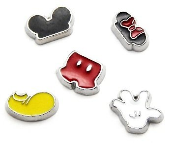Cherityne Mickey Mouse Themed Set of 5 Floating Charm for Locket Pendants