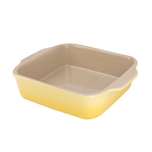 "American Bakeware Lemon Yellow Square Casserole Baker 8""x9"", 1 quart, Ceramic Stoneware Made in the USA"