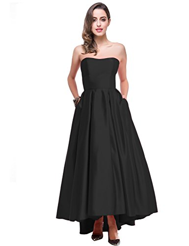 Vanial Women's A-line Prom Dresses Strapless Satin Backless Evening Dress for Ladies Black Size 8 - Empire Strapless Satin