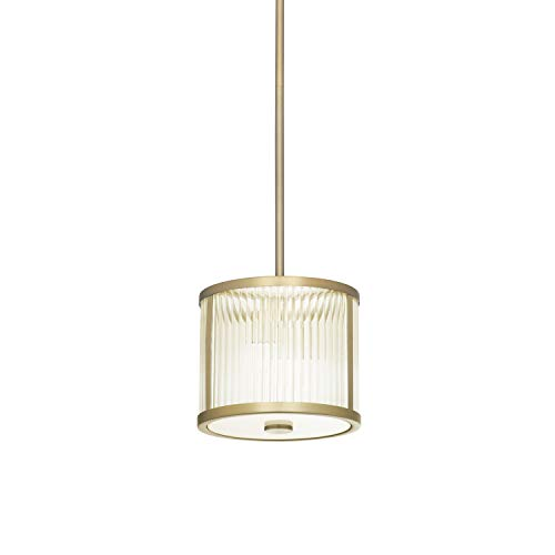Mini Ribbed Glass Pendant Light - Aged Brass LED Ceiling Fixture, Damp Located, Dimmable, ETL Listed - Harper Collection by Brooklyn Bulb Co.
