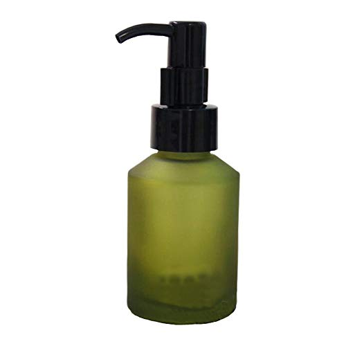 1Pcs 60ml/2oz Portable Empty Refillable Frosted Glass Press Bottle Cosmetic Cleansing Oil Emulsion Essence Cream Lotion Essential Oil Pump Dispenser Vial Container Jars(Green)