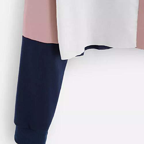 A Maniche Con Corte Patchwork Ciciyoner Donna Lunghe Colori Vendita Rosa Per Felpa Calda qxwatp