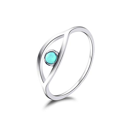 (Lancharmed S925 Sterling Silver Ocean Wave Rings Stacking Cubic Zirconia Rhodium Plated Trendy Jewelry Size 7 8 9 for Women Girls Teens (Turquoise Eye, 7))