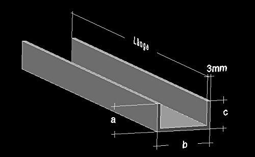 Alu U-Profil 40 x 140 x 40 x 3,0 mm Aluminium AlMgSi0,5 U-Stab Profil Aluprofil U-Stange 150 cm