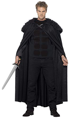 (Smiffys Men's Dark Barbarian Costume, Top and Cape, Tales of Old England, Serious Fun, Size M,)
