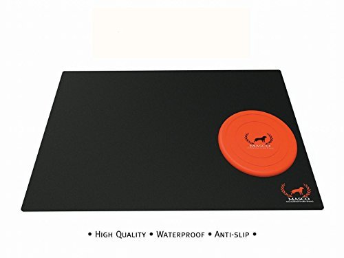 Masco Dog Food Mat - Premium Quality Waterproof Dog Cat Pet Mats Non-Slip Silicone Dog Bowl Mat Large Black Pet Placemats FDA Grade Feeding Mat for Indoor Outdoor with Silicone Frisbee (24x16)