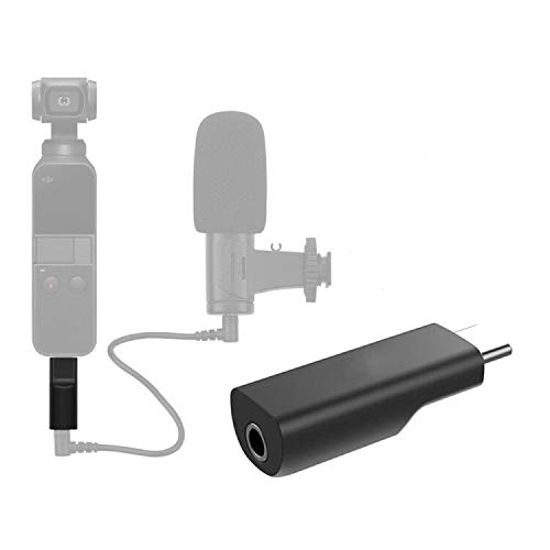 Hooshion Type C 3.5mm Microphone Adapter USB C Audio Adapter for DJI Osmo Pocket Supports External 3.5mm Microphone Interface for Higher-Quality Recording Expansion Accessories
