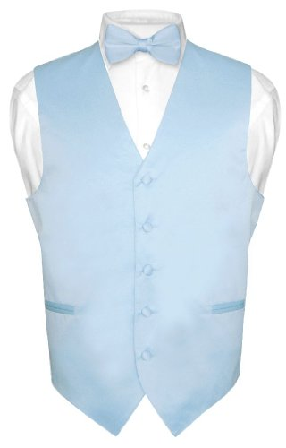 Men's Dress Vest & BowTie Solid BABY BLUE Color Bow Tie Set size Small