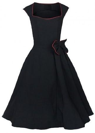 Vintage 1950 s 60 s Rockabilly Swing vestido retro de pelota Noche Black with