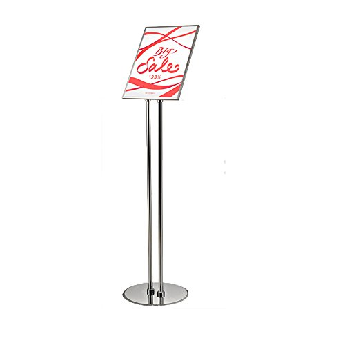 S-Display Poster Sign Holder Floor Stand Pole Height Adjustable Tilting Frame With double pole sign stand for 8.5 x 11 inches Posters (Ground Showroom Floor)