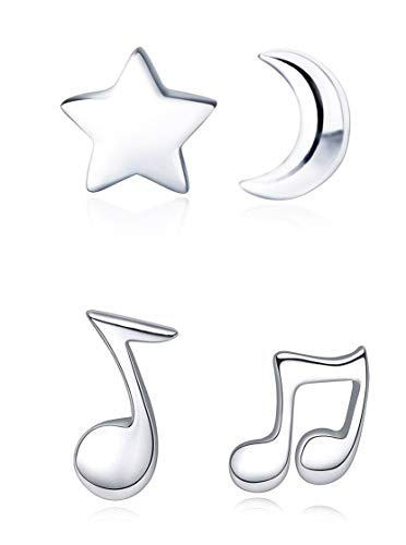 925 Sterling Silver Moon Star Stud Earrings Music Note Ear Studs(2 ()