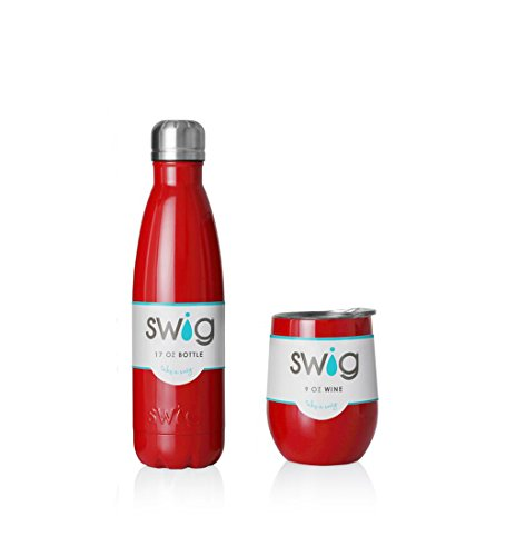 SWiG Insulated Water Bottle and Stemless Wine Cup Bundle Ocean