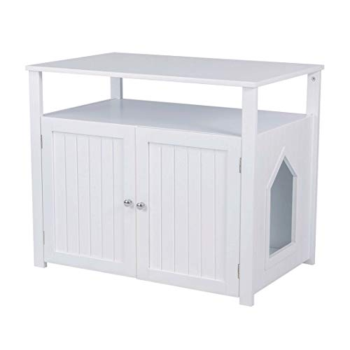 Good Life Double-Door Pet Crate Cat Washroom Hidden Cat Litter Box Enclosure Furniture Cat House Right/Left Side Entrance Selectable with Table Home Nightstand Large Box White Color