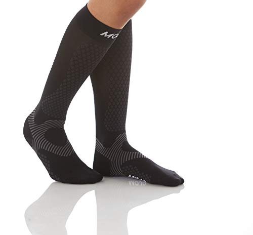 Mojo Compression Socks Unisex Elastic Graduate Knee Length with Power Style Design and Cushioned Foot & Heel | Improve Muscle Endurance | Made with Coolmax | Small | Black