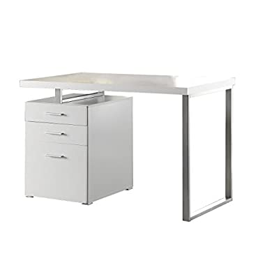 Coaster Home Furniture Home Office Writing Desk, White and Silver (CH-800325)