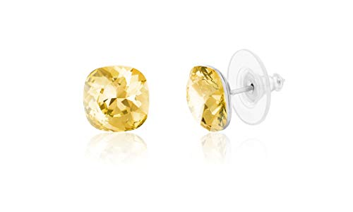 (Devin Rose Cushion Solitaire Stud Earrings for Women in Stainless Steel made with Swarovski Crystal (Moon Light Yellow)