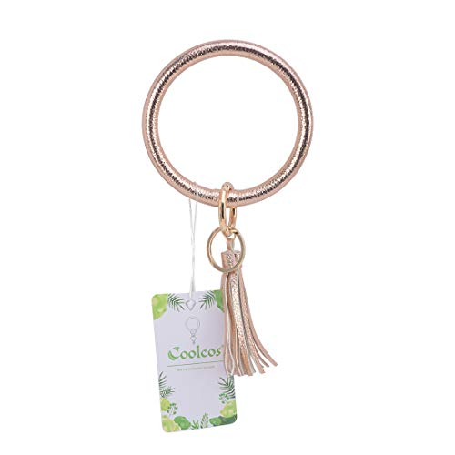 Big Bracelet Bangle Keychain Keyring - Large O Wrist Leather Bracelet Key Holder Key Chain Key Ring By Coolcos (Champagne) ()