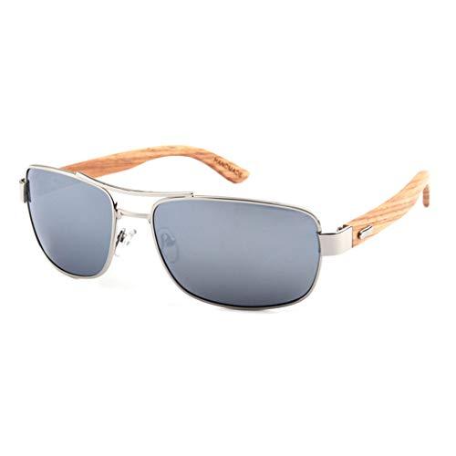 La Gafas clásicas bambú del metálico Marco conducción Plata polarizadas Color sol de bambú Gafas Gray Unisex de Gafas aqgYAq