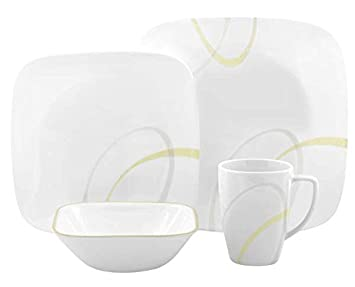 Corelle Square Vitrelle 16-Piece Dinnerware Set, Service for 4, Modern Lines