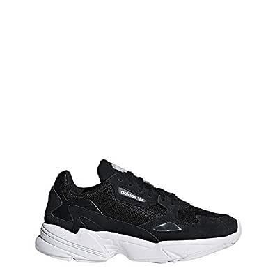 adidas Originals Women's Falcon Running Shoe, Black/White, 5 M US