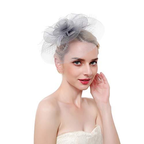 Vintage Mesh Hair Clip Fascinators Top Hat for Women Tea Party Wedding Headwear Cocktail Kentucky Derby Headband Grey -