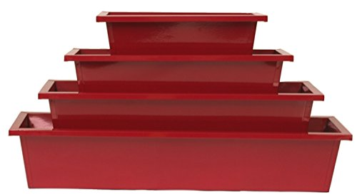 - HiT 8625E XR S/4 Enameled Rectangular Galvanized Window Planter (Set of 4), Red