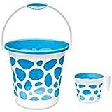 Cello Plastic Milton Duplex Bucket and Mug, 25 Ltrs, Blue