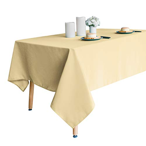 Obstal 210GSM Rectangle Table Cloth, Water Resistance Microfiber Tablecloth, Decorative Fabric Table Cover for Outdoor and Indoor Use (Champagne, 60 x 102 Inch) (60 Champagne)